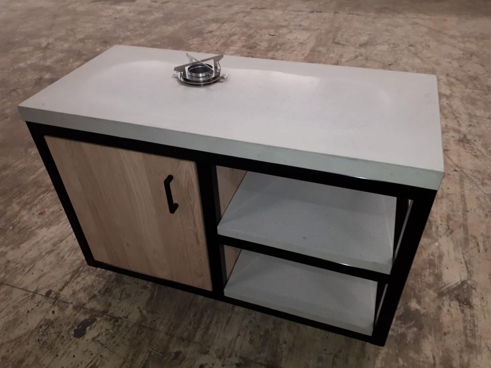 Buitenkeuken beton-staal-hout 135,5 x 60 x 94 cm